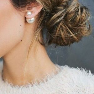 Classy Pearl Double-Sided Earrings - Gold Hardware
